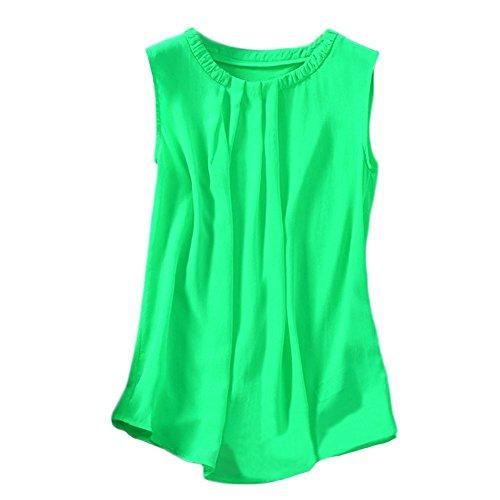 WZRT Ladies Personality Pleat Collar Sleeveless T-Shirt XXXX-L Green