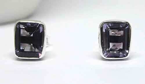 handmade 925 sterling silver stud earrings with genuine 7 * 9 mm amethyst, natural octagon Brazilian amethyst set in sterling silver, amethyst stud earrings, octagon stud earrings