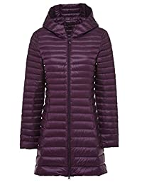 LD Womens Hooded Solid Color Winter Down Quilted Jacket Trench Coat Outerwear