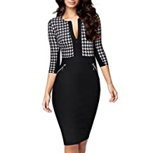 Miusol Women's Formal Houndstooth-Print Optical Illusion Business Dress (3123)