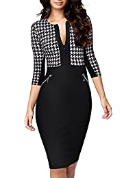 Women's Formal Houndstooth-Print Optical Illusion Business Dress