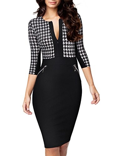 Miusol Women Formal Houndstooth-Print Optical Illusion 2/3 Sleeve Business Dress Black (Black Houndstooth Print)