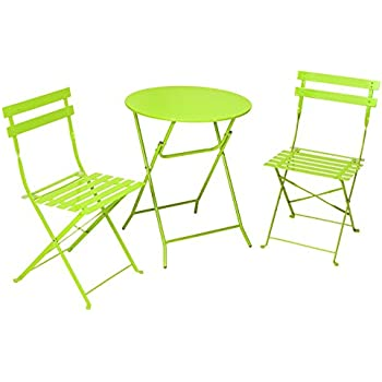 Cosco 3 Piece Folding Bistro Style Patio Table And Chairs Set, Bright Green