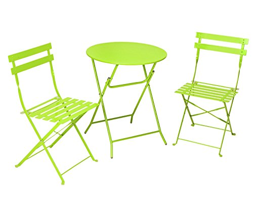 Cosco 3-Piece Folding Bistro-Style Patio Table and Chair, Bright Green (Patio Tables And Chairs)