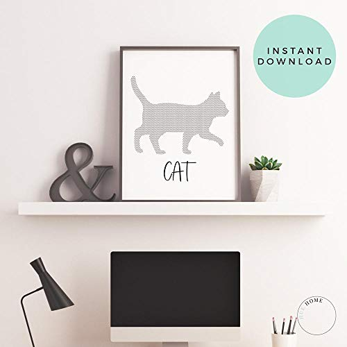 Cat Wall Art Cat Poster French Cat Poster Cat Lover Gift Cat Silhouette Print Cat Decor Cat Art Halloween Decor Cat Nursery Printable Frame -