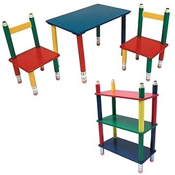 Kindermöbel holz  BLEISTIFT Kindermöbel Holz Set aus Maltisch mit 2 Kinderstühle und ...