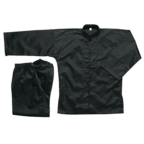 Ace Martial Arts Supply 100% Cotton Kung Fu Uniform -All Black, All White, and Black with White Cuffs (All Black, 6)