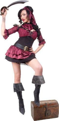 Captain Blackheart Adult Womens Costumes (Lip Service Womens Captain Blackheart Adult Costume Red X-small)