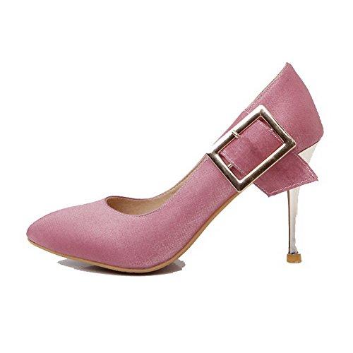 VogueZone009 Damen Hoher Absatz Weiches Material Rein Ziehen auf Spitz Zehe Pumps Schuhe Pink