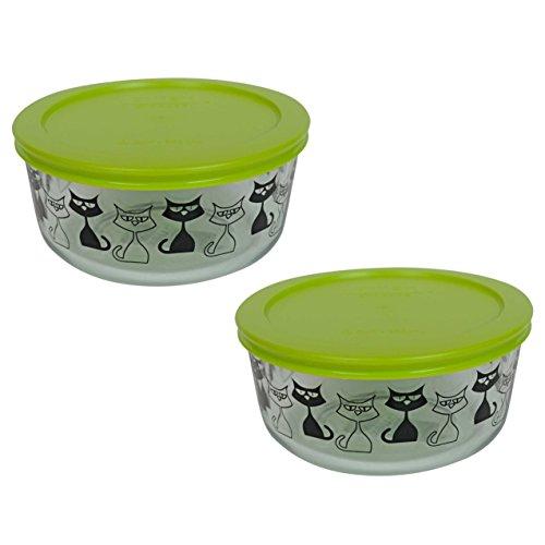 (2) Pyrex 7201 4 Cup Black Cat Glass Bowls & (2) 7201-PC Edamame Green Plastic Lids
