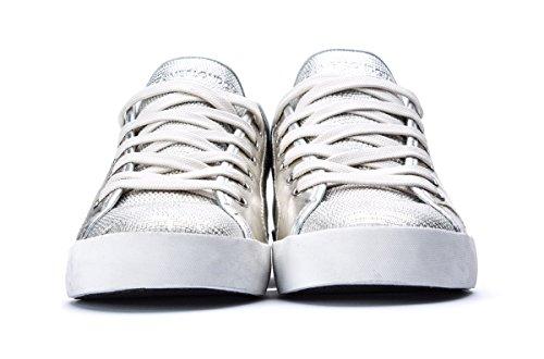 Crime London Zapatillas de Piel Para Mujer Plateado Plateado