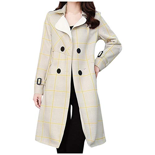Women Plaid Woolen Coats Plus Size ,SFE Winter Slim Fit Notched Lapel Button-Down Pea Coat with Pockets Yellow