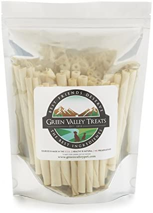 Green Valley Treats American Rawhide Sticks for Small Dogs, 5 inch All Natural Twists Made in USA Only