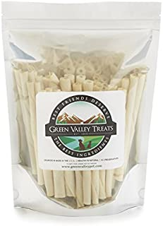 product image for Plain Rawhide Chews for Small Breed Dogs, Natural Dog Treats Made in USA Only by Green Valley Treats, 10 Chews