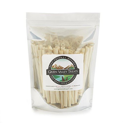 Green Valley Treats Plain Rawhide Chews for Small Breed Dogs, Natural Dog Treats Made in USA Only, 100 Chews