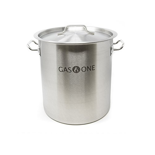Gas One Stainless Steel Brew Kettle Pot 5 Gallon 20 Quart Satin Finish with lid/cover for Beer Brewing, Crawfish, Crab Pot Thickness 0.8mm Commercial Grade Perfect for Boiling Sap for Maple Syrup