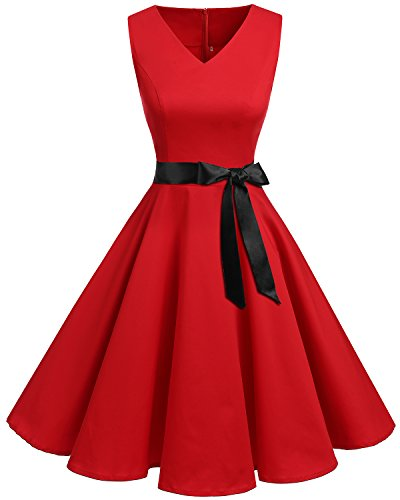 Bridesmay Women's V-Neck Audrey Hepburn 50s Vintage Elegant Floral Rockabilly Swing Cocktail Party Dress Red 2XL]()