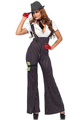 Mafia Costumes For Women (Leg Avenue Women's 3PC.Brass Knuckle Babe, Black/White,)