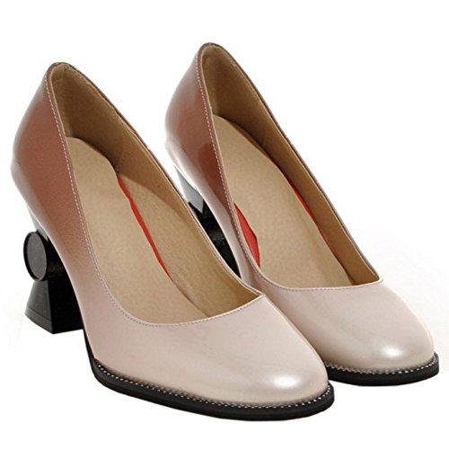 Coolcept Women Fashion Slip On Court Shoes Heel Apricot QFphiXAV6Q