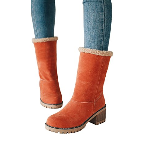 Warm Snow Orange Suede Winter Mid Short Cute Women Toe Round DOTACOKO Chunky Heel Booties Ankle Boots xHq7fExwZ
