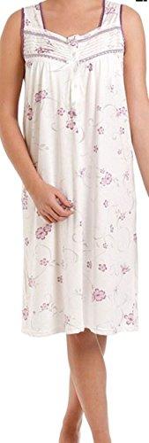 Lady Olga - Camisón de algodón para mujer, diseño floral sin mangas, ropa de noche 0103 morado