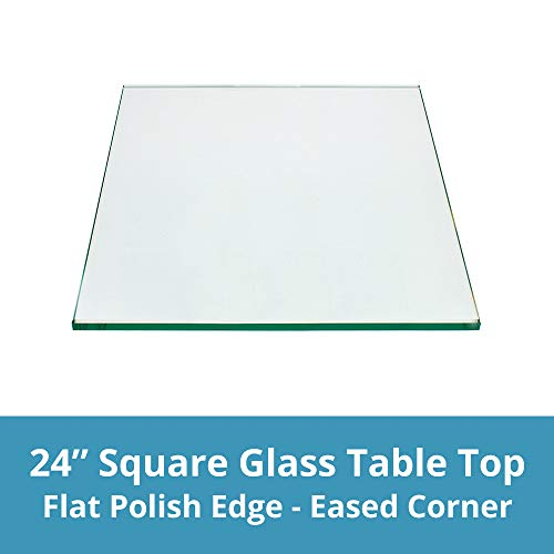 Square Glass Table Top 24 Inch Custom Annealed Clear Tempered, 1/4