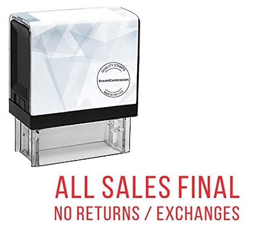 StampExpression - All Sales Final No Returns or Exchanges Office Self Inking Rubber Stamp - Red Ink (A-5853)