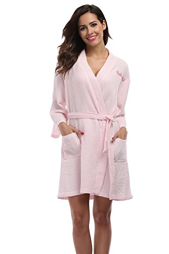 Vogue Bridal VogueBridal Waffle Weave Kimono Robe With Embroidered Bathrobe For Bridesmaid, Pink