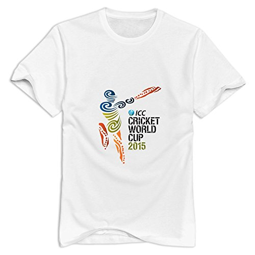 White ICC Cricket World Cup 2015 Logo 100% Cotton Shirts For Mens Size M