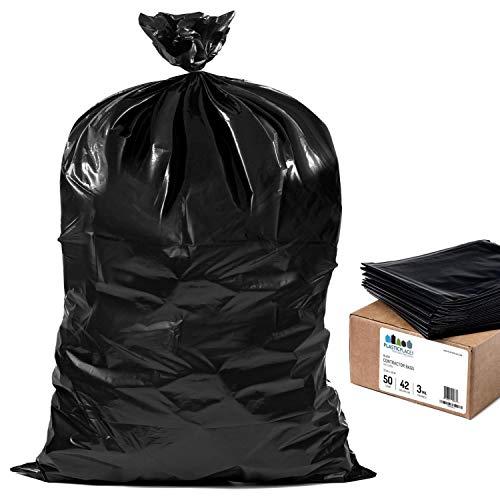 Plasticplace Contractor Trash 42 Gallon │ 3.0 Mil │ Black Heavy Duty Garbage Bag │ 33 x 48 (50 Count)