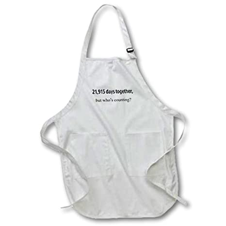 3dRose apr/_112219/_1 21 Whos Counting Happy 60th Anniversary Full Length Apron with Pockets White 22 by 30-Inch 915 Days Together