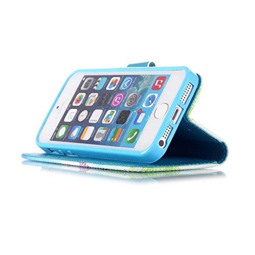 Pour iphone 5 5S Portefeuille Coque Etui, Ougger(TM) Charmant Dandelion [Dragonne] Durable PU Cuir Bourse Flip Rabat Fente Carte Stand Magnétique Fermeture Protecteur Housse Coque Etui