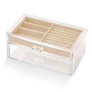 Multifunctional Jewelry Storage Box Separate Box Earrings Jewelry Box(Beige One Size)