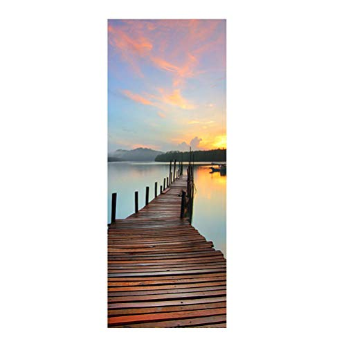 2pcs Sea Sunset Pier Door Stickers Self-Adhesive Decoration Decals DIY Door Stickers Waterproof PVC Mural Poster for Living Room Home Bedroom