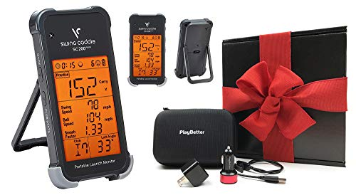 Swing Caddie SC200 Plus+ (2019 Model) Portable Golf Launch Monitor Gift Box Bundle | PlayBetter Protective Case, USB Wall & Car Charging Adapters | Doppler Radar Technology | Black Gift Box, Red Bow (Best Handheld Gps For Hunting 2019)