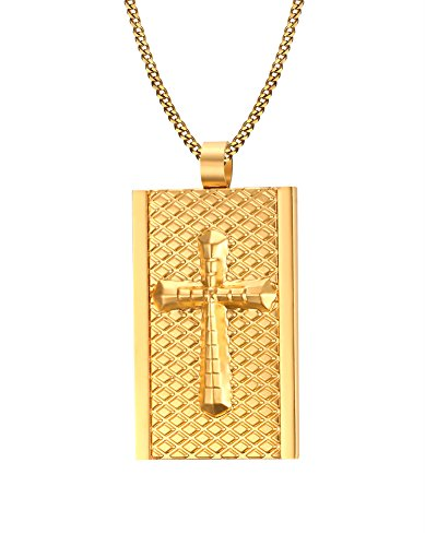 PMTIER Men's Stainless Steel Gold Plated Cross Pendant Dog Tag Chain Necklace (Chritian Religious Cross)