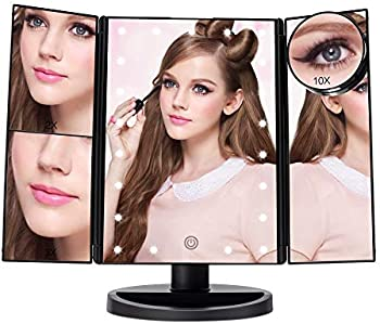 Ascinate Lighted Makeup Mirror with 21 LED Lights Touch Screen Dimming