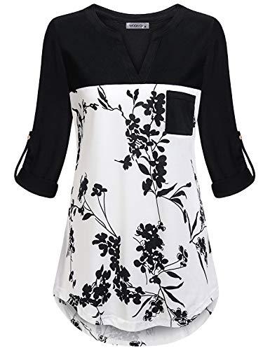 MOQIVGI Boutique Tops for Women,Long Sleeve V Neck Cute Floral Shirts Ladies Hi Low Hem Casual Tunics Fashion 2019 Nice Blouses Prime Wardrobe Womens Clothing Black White Medium
