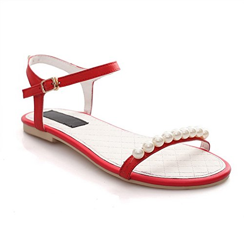 AmoonyFashion Womens Open Toe Buckle Cow Leather Solid No Heel Sandals Red Dv8BMb