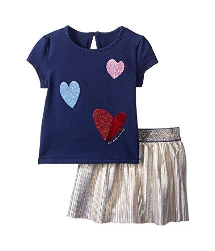 Kate Spade New York Kids Baby Girl's Tossed Hearts Skirt Set (Infant) New Navy 24 Months