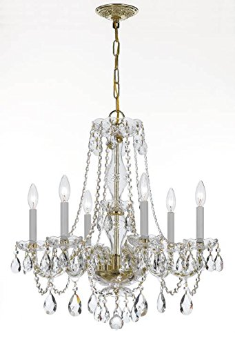 Crystorama 5086-PB-CL-MWP Six Light Chandelier, Polished Brass Finish with Clear Hand Cut Crystal (Chandelier Cl Mwp Pb)