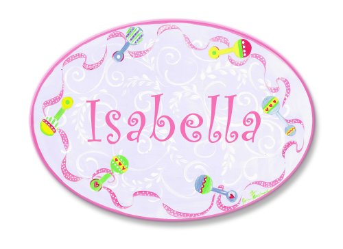 Isabella Floral Print (The Kids Room by Stupell Isabella, Pink with Multi-Colored Rattle Border Personalized Oval Wall Plaque)