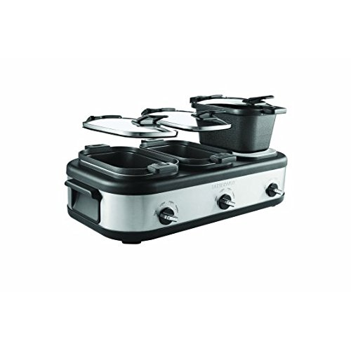 Triple 2.5-Quart Slow Cooker with Non-Stick Aluminum Pots and Locking Lids