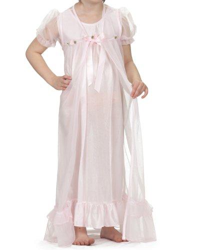 Laura Dare Little Girls Pink Short Sleeve Peignoir Nightgown w Scrunchie, 5