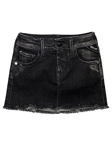 Replay Girls Black Denim Skirt With Patch in Size 12 Years Black by Replay