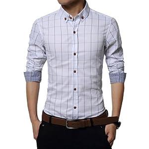 チェック ワイシャツ メンズ カジュアル 人気 かっこいい スレンダー お洒落 ボタンダウン 長袖 スリム yシャツ (NAIL39) (ホワイト 白、S)2