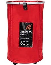 Mind Reader Pop Up Rolling Laundry Hamper, 93 Liter, Red