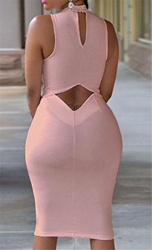 Sleeveless Keyhole Pencil Cut Solid Out Bodycon Women Dresses Pink Color Cromoncent pq5g6H