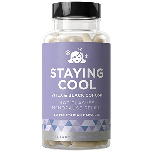 Staying Cool Hot Flashes & Menopause Natural Relief - Hormonal Weight Support, Night Sweats, Disturbed Sleep, Mood Swings - Vitex Chaste Tree & Black Cohosh Pills - 60 Vegetarian Soft Capsules