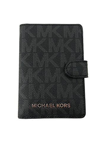 Price comparison product image Michael Kors Jet Set travel Signature PVC Passport Case Cover Wallet in Black